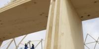 Nærbillede af limtræ på Dome of Visions byggepladsen